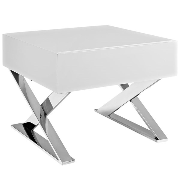 Sector Contemporary White MDF Stainless Steel Nightstand EEI-2049-WHI-SET
