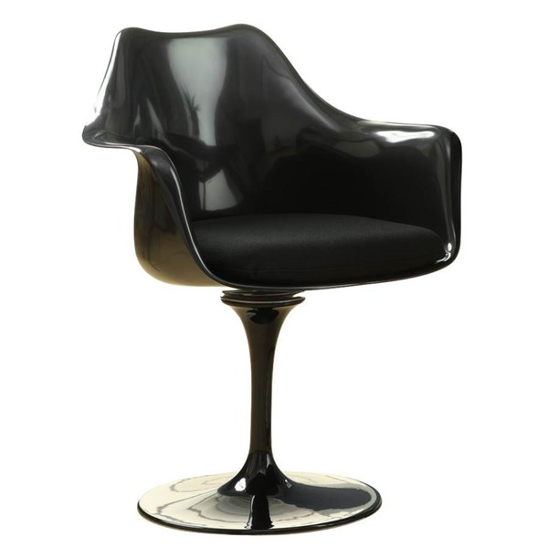Lippa Modern Black Aluminum ABS Plastic Cotton Dinette Chair EEI-205-BLK