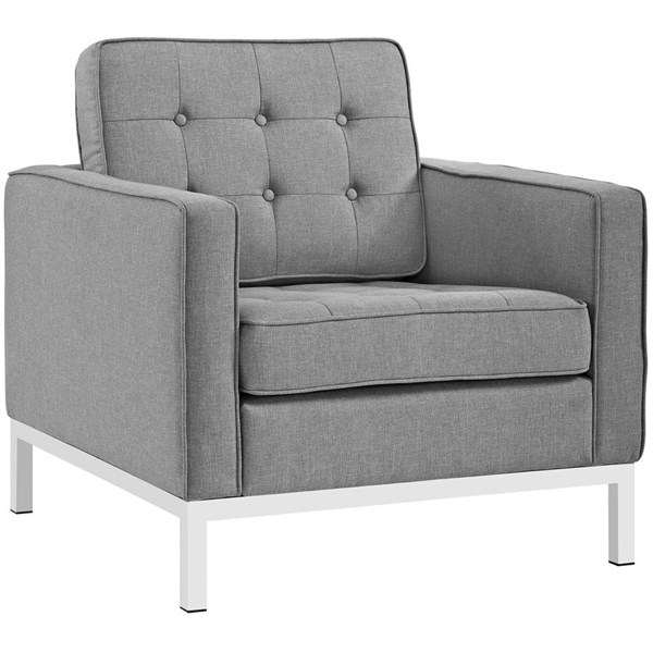Loft Light Gray Fabric Steel Tufted Back Armchair EEI-2050-LGR