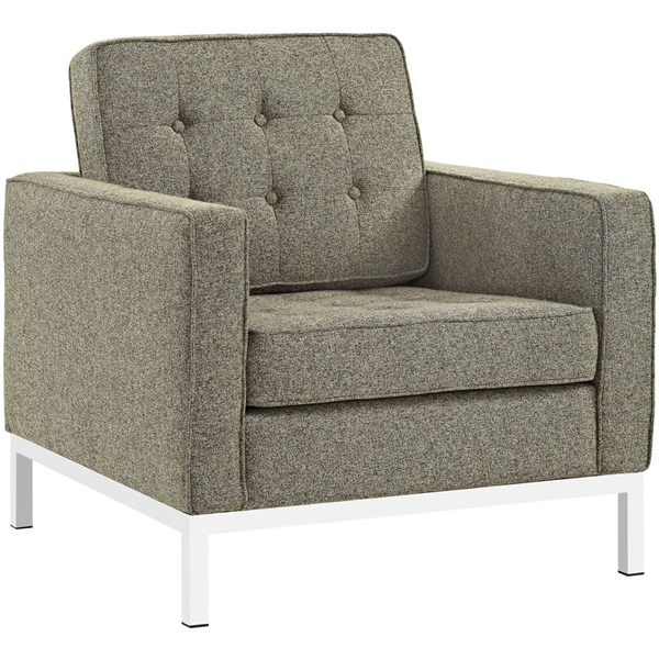 Loft Oatmeal Fabric Steel Tufted Back Armchair EEI-2050-OAT