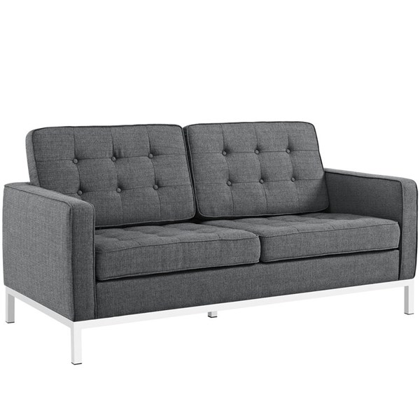 Loft Gray Fabric Solid Wood Tufted Back Loveseat EEI-2051-DOR