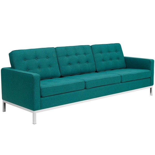 Modway Furniture Loft Teal Fabric Sofa EEI-2052-TEA
