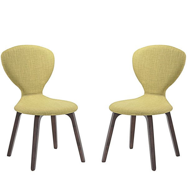2 Tempest Modern Walnut Green Wood Fabric Dining Side Chairs EEI-2060-WAL-GRN-SET