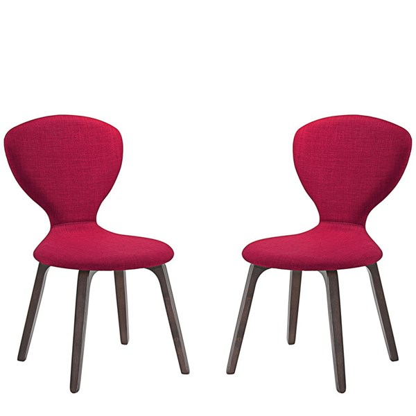 2 Tempest Modern Walnut Red Wood Fabric Dining Side Chairs EEI-2060-WAL-RED-SET