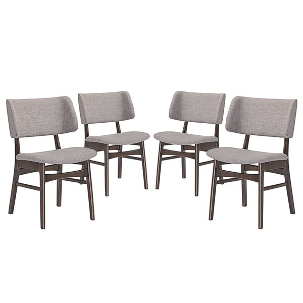 4 Vestige Modern Walnut Gray Wood Fabric Dining Side Chairs EEI-2062-WAL-GRY-SET