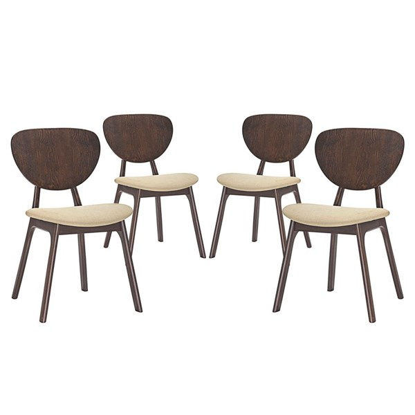 4 Murmur Modern Walnut Beige Wood Fabric Dining Side Chairs EEI-2063-WAL-BEI-SET