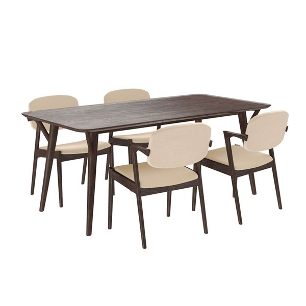 Mid-Century Modern Walnut Beige Wood Fabric 5pc Dining Sets EEI-2066-WAL-DR-S-VAR