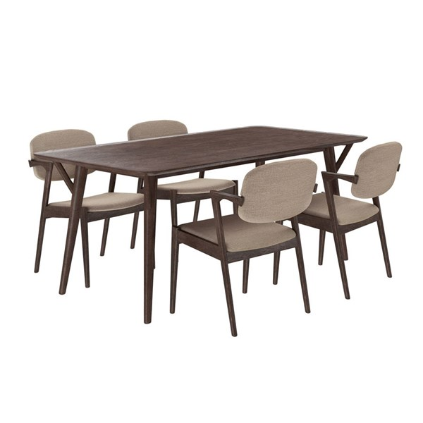 Mid-Century Modern Walnut Latte Wood Fabric 5pc Dining Set EEI-2066-WAL-LAT-SET