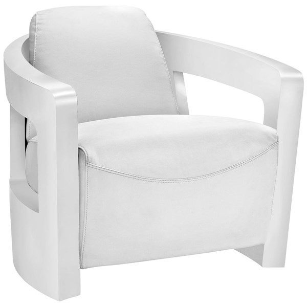Trip Modern White Steel Leather Lounge Chair EEI-2069-WHI
