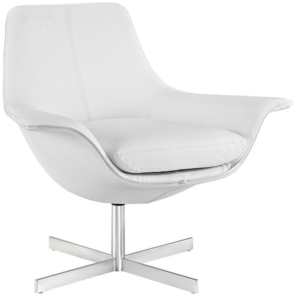 Release Modern White Steel Bonded Leather Lounge Chair EEI-2073-WHI