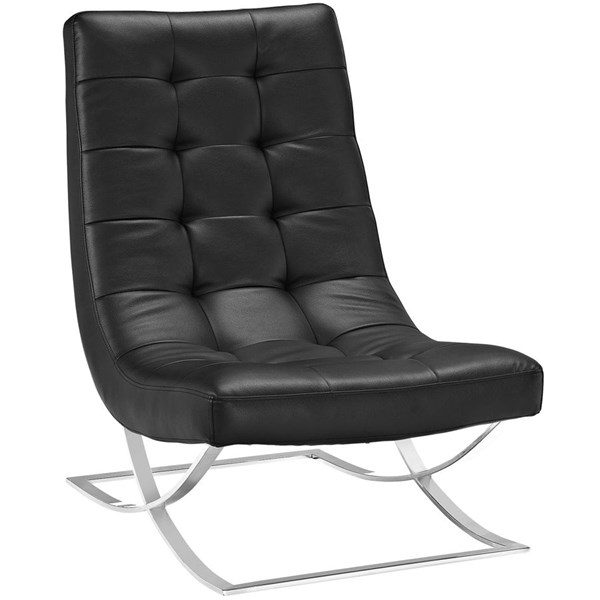 Slope Modern Black Vinyl Steel Lounge Chairs EEI-2076-CH-VAR