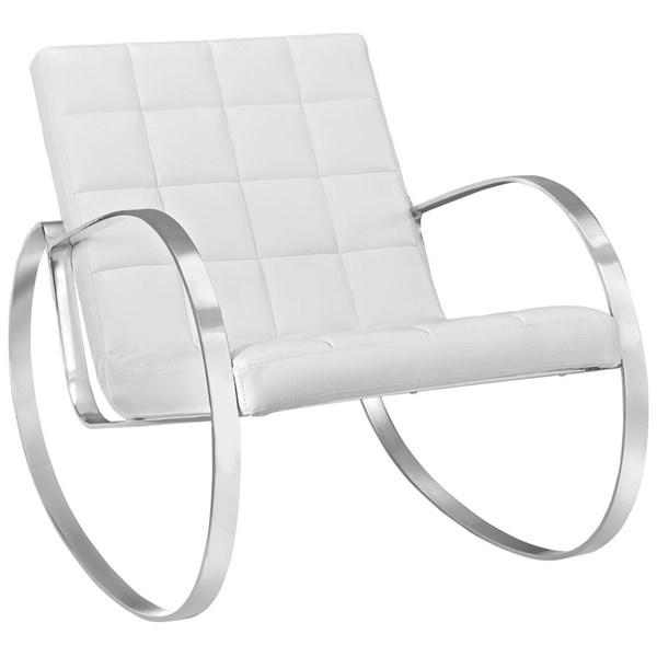 Gravitas Modern White PU Steel Lounge Chair EEI-2084-WHI