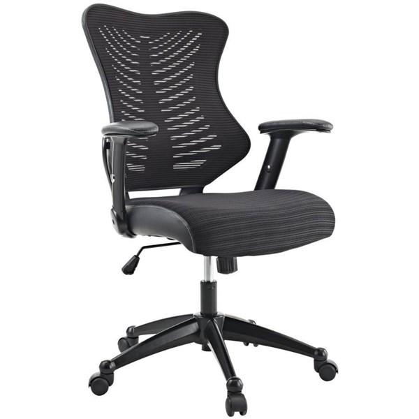 Black Pu Seat Mesh Back & Arms W/Black Leather Clutch Office Chair EEI-209-BLK