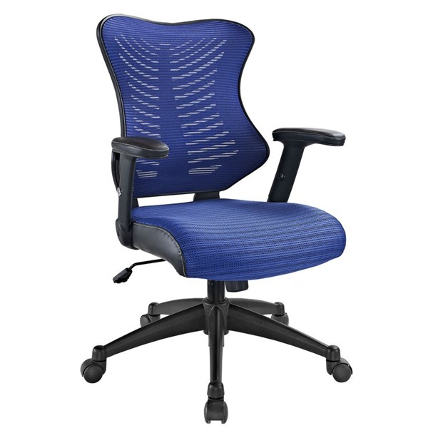 Clutch Blue Black Mesh PU Lumbar Support Office Chair EEI-209-BLU