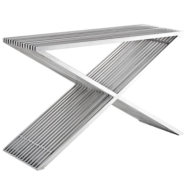 Press Modern Silver Stainless Steel Console Table EEI-2095-SLV