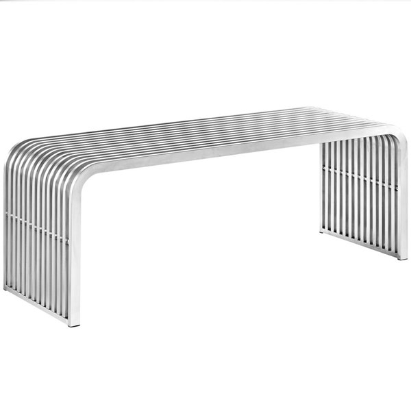 Pipe Modern Silver Steel Rectangle Bench EEI-2102-SLV