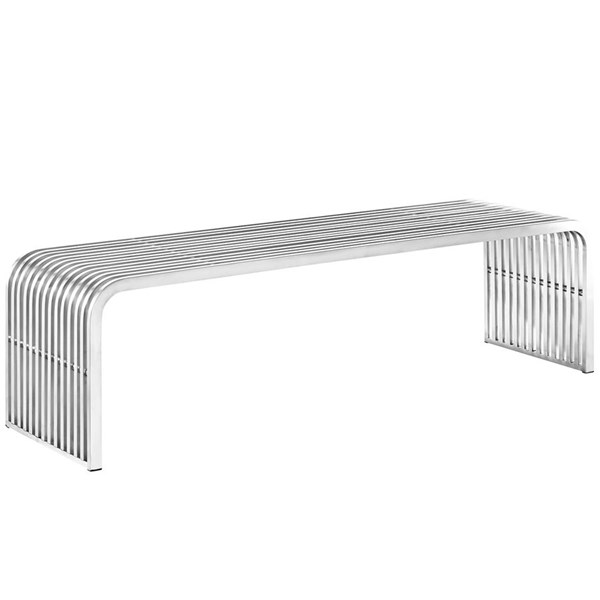 Pipe Modern Silver Steel Armless & Backless Large Bench EEI-2103-SLV
