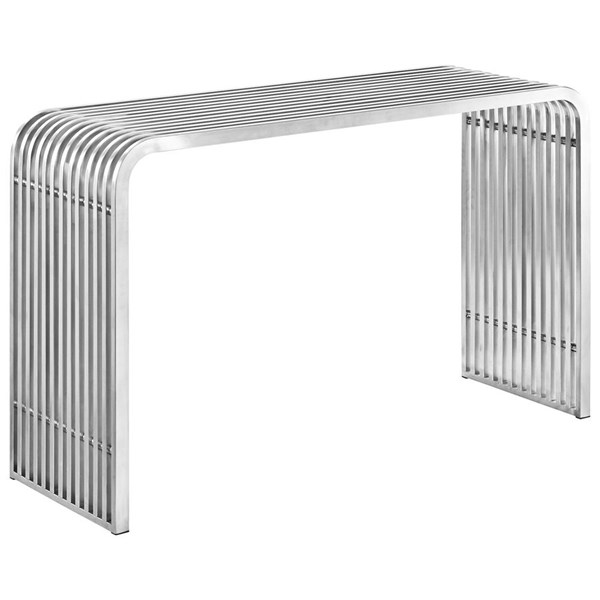 Pipe Modern Silver Steel Rectangle Console Table EEI-2104-SLV