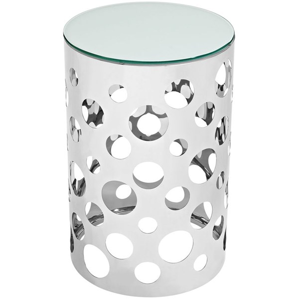 Etch Modern Silver Glass Steel Round Side Table EEI-2107-SLV