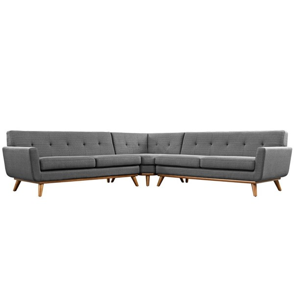 Engage Gray Fabric Wood L Shaped Sectional EEI-2108-DOR-SET