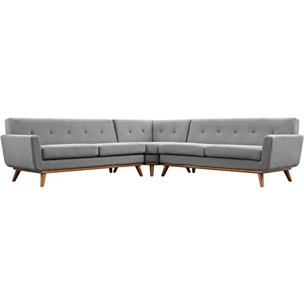 Engage Expectation Gray Fabric Wood L Shaped Sectional EEI-2108-GRY-SET