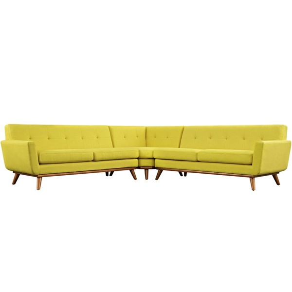 Engage Sunny Fabric Wood L Shaped Sectional EEI-2108-SUN-SET