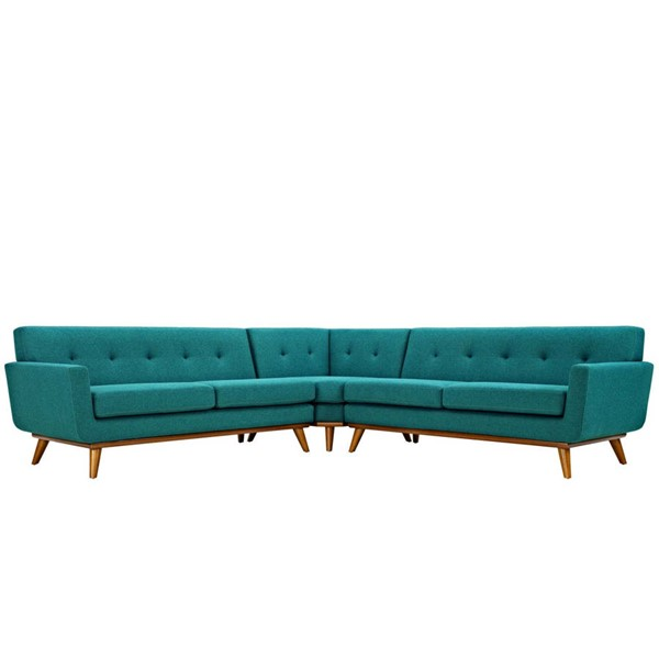Modway Furniture Engage Teal L Shaped Sectional EEI-2108-TEA-SET