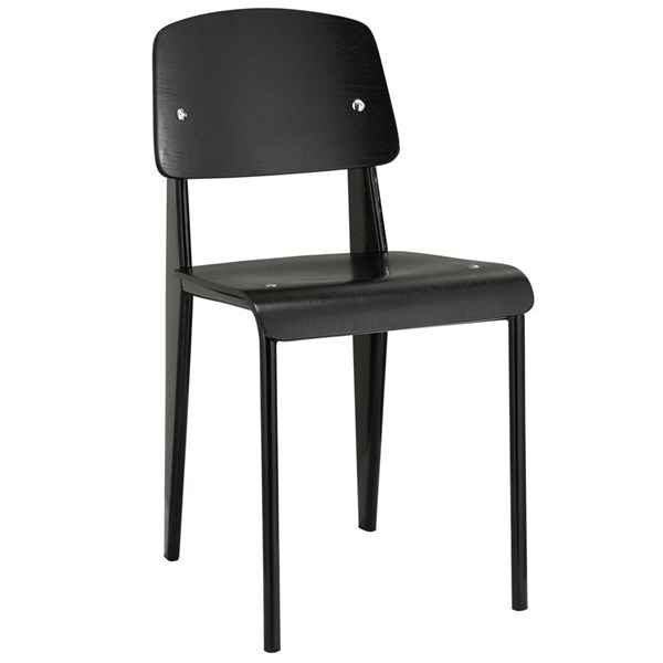 Cabin Modern Black Metal Wood Dining Side Chair EEI-214-BLK-BLK
