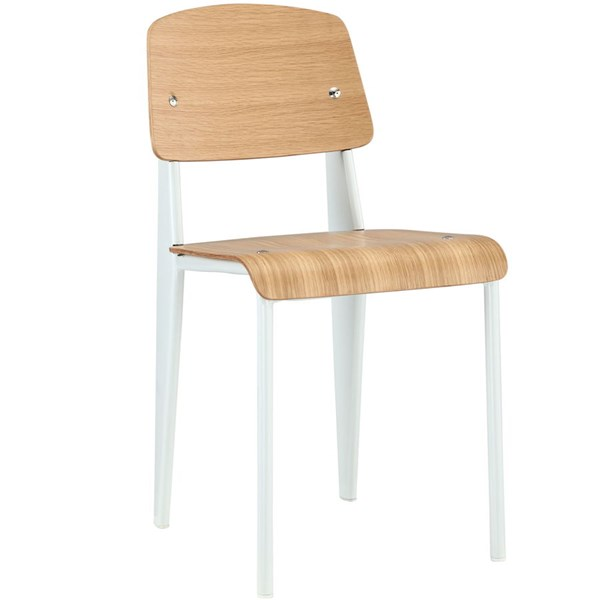 Cabin Modern Natural White Metal Wood Dining Side Chair EEI-214-NAT-WHI