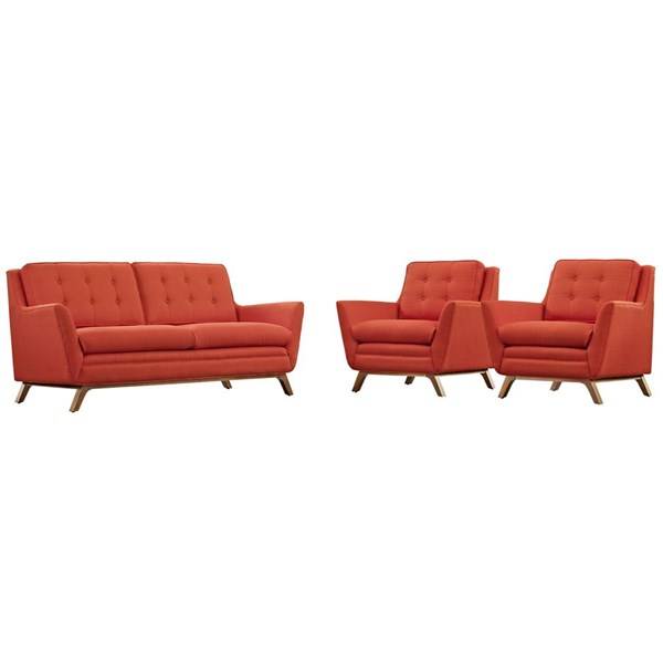 Beguile Atomic Red Fabric Wood Tufted Back 3pc Living Room Sets EEI-2141-SET-VAR