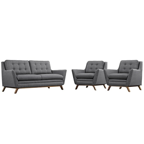 Beguile Expectation Grey Fabric Wood Tufted Back 3pc Living Room Set EEI-2141-DOR-SET
