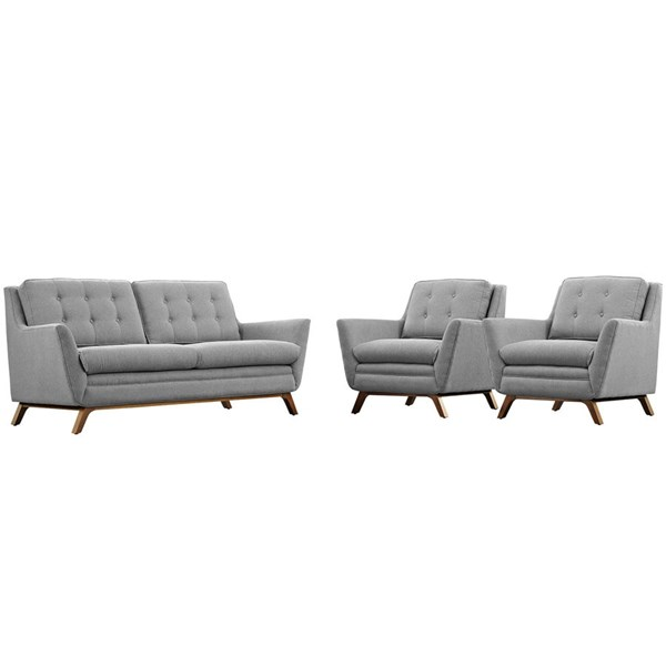 Beguile Gray Fabric Wood Tufted Back 3pc Living Room Set EEI-2141-GRY-SET