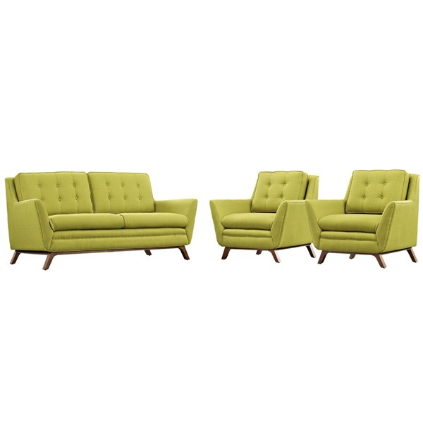 Beguile Wheatgrass Fabric Wood Tufted Back 3pc Living Room Set EEI-2141-WHE-SET