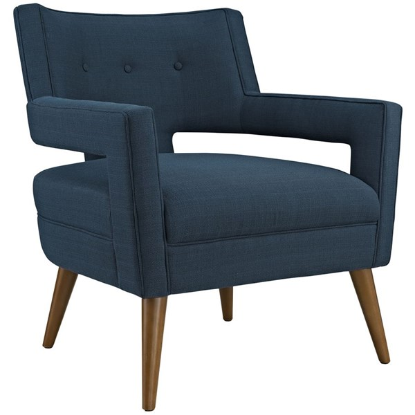 Sheer Contemporary Azure Fabric Solid Wood Armchair EEI-2142-AZU