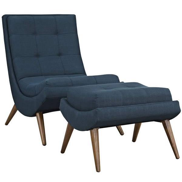 Ramp Azure Fabric Solid Wood Lounge Chair Sets EEI-2143-LR-VAR