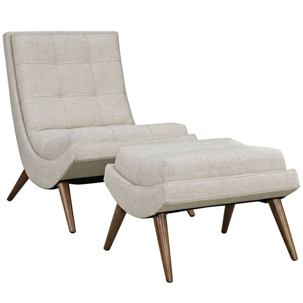 Modway Furniture Ramp Sand Lounge Chair and Ottoman Set EEI-2143-SAN