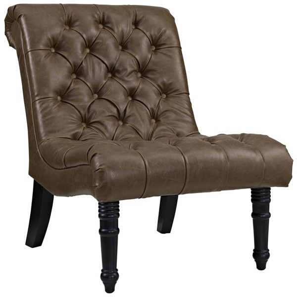 Navigate Contemporary Brown PU Solid Wood PP Lounge Chair EEI-2145-BRN