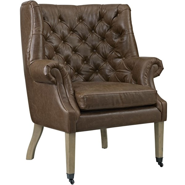 Chart Contemporary Brown Fabric Solid Wood Lounge Chair EEI-2147-BRN