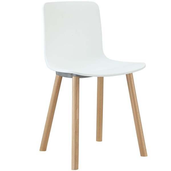 Sprung Contemporary White Plastic Wood Dining Side Chair EEI-215-WHI