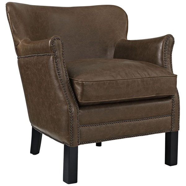Key Contemporary Brown PU Solid Wood Armchairs EEI-2153-CH-VAR