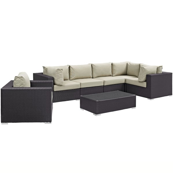 Modway Furniture Convene Espresso Beige 7pc Outdoor Patio Sectional EEI-2157-EXP-BEI-SET