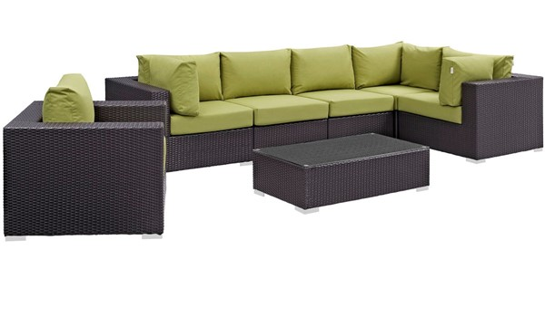 Modway Furniture Convene Espresso Peridot 7pc Outdoor Patio Sectional EEI-2157-EXP-PER-SET