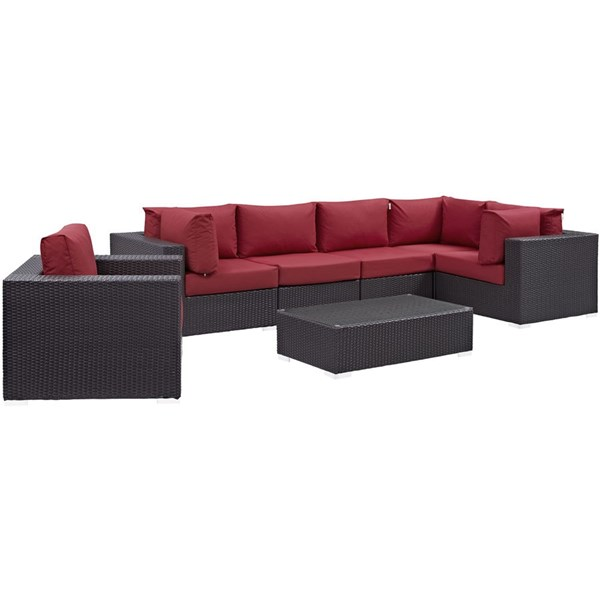 Convene Red Fabric Rattan Aluminum 7pc Outdoor Patio Sectional Set EEI-2157-EXP-RED-SET