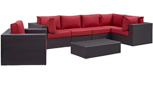 Modway Furniture Convene Espresso Red 7pc Outdoor Patio Sectional EEI-2157-EXP-RED-SET