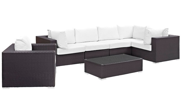 Modway Furniture Convene Espresso White 7pc Outdoor Patio Sectional EEI-2157-EXP-WHI-SET
