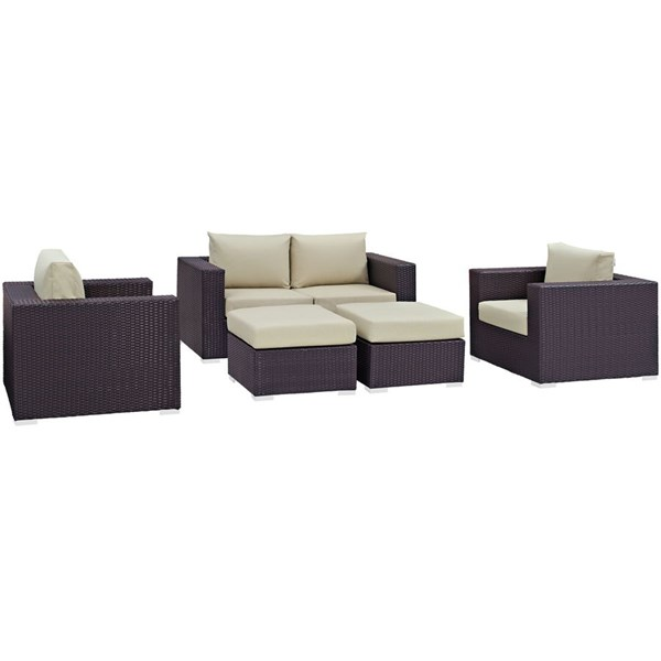 Convene Espresso Beige Fabric Rattan 5pc Outdoor Patio Sofa Set EEI-2158-EXP-BEI-SET