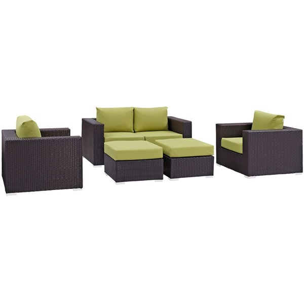 Modway Furniture Convene Espresso Peridot 5pc Outdoor Patio Sofa Set EEI-2158-EXP-PER-SET