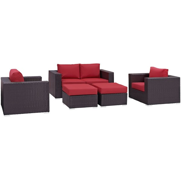 Modway Furniture Convene Espresso Red 5pc Outdoor Patio Sofa Set EEI-2158-EXP-RED-SET