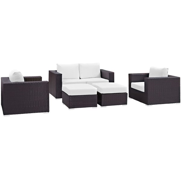 Convene Espresso White Fabric Rattan 5pc Outdoor Patio Sofa Set EEI-2158-EXP-WHI-SET