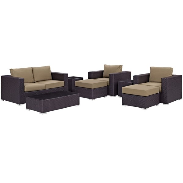 Modway Furniture Convene Espresso Mocha 8pc Outdoor Sofa Set EEI-2159-EXP-MOC-SET
